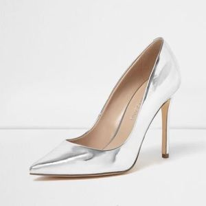 River Island Shoes - River Island Silver Heels Pumps