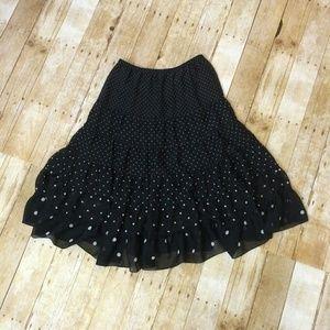 Christopher & Banks Dresses & Skirts - Long black polka dot tiered skirt