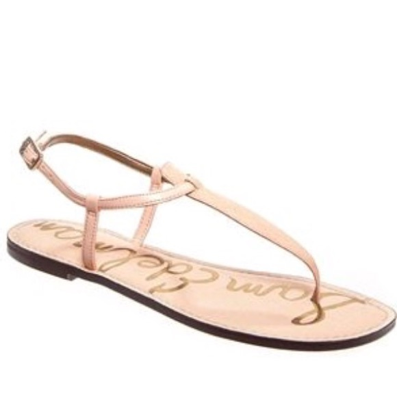 faaf68654a4869 Sam Edelman Peach Melba Gigi T-Strap Flat Sandal. M 593a1149f739bcc41001143b