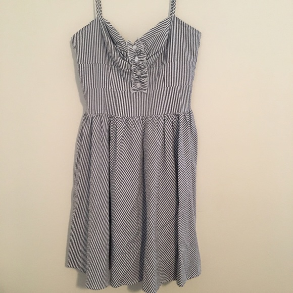 Lord Taylor Dresses Searsucket Blue And White Dress Poshmark