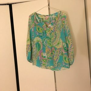 New Lilly Pulitzer Blouse Xs 100% silk