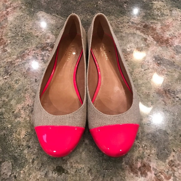7db69c9e53e4 kate spade Shoes - Kate Spade Patent and Linen Tweed Flats - Hot Pink