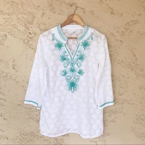 Charter Club Tops - charter club semi-sheer beaded embroidered tunic