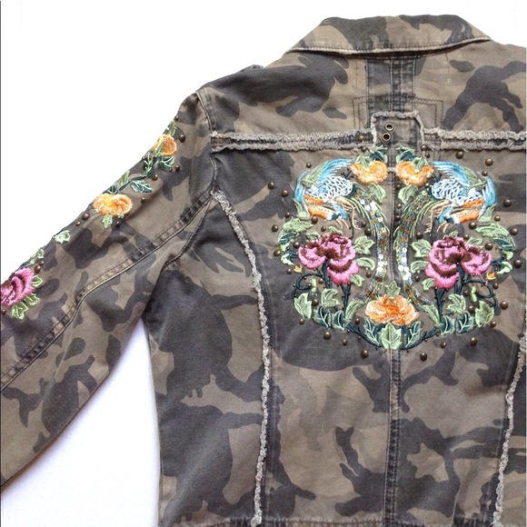 e818e4d6f4ee6 Miss Me Jackets & Coats | Floral Embroidered Camo Jacket | Poshmark