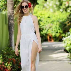 Le Salty Label white crepe maxi dress
