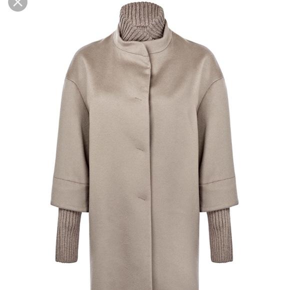 b2757fbb3627 cinzia rocca Jackets & Coats | Woolribbed Trim Womens Coat Taupe ...