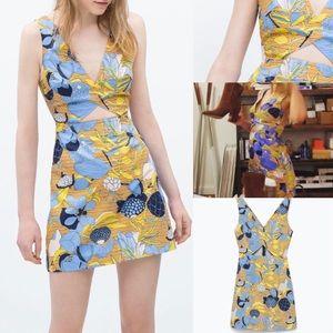 Zara tropical print cut out dress sun mini m