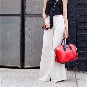 Christian Siriano off-white wide leg pants