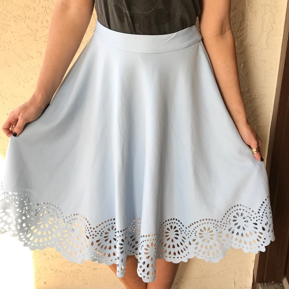 eef23ecce Francesca's Collections Skirts | Nine Scalloped Light Blue Midi ...