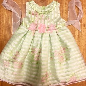 Rare Editions Other - 🌸🍃Exquisite Green & Blush Pink Dress w/ Flowers