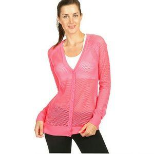 Lorna Jane Sweaters - Lorna Jane mesh pink knit cardigan