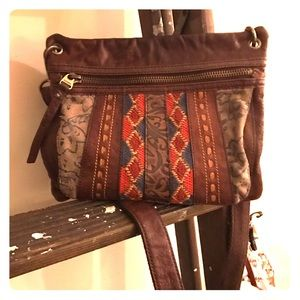 Fossil Embroidered and Leather Crossbody