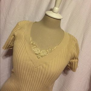 August Silk  Sweaters - Tan v neck short sleeve sweater