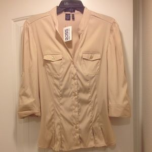 Tops - NWT flesh colored button up blouse
