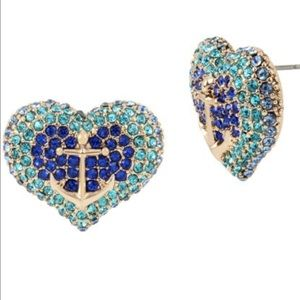 New Betsey Johnson Anchors Away Pave Heart Studs⚓️