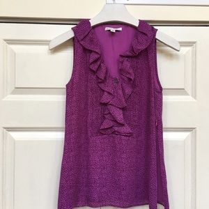 Banana Republic Tops - Banana Republic Pink Panther Ruffle Top EUC