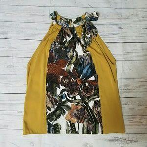 Elie Tahari Tops - Elie Tahari Gold and floral silk sack top