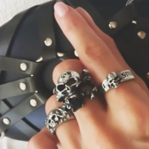 Alchemy Jewelry - Philosopher's Skull and Rose Ring 7.5