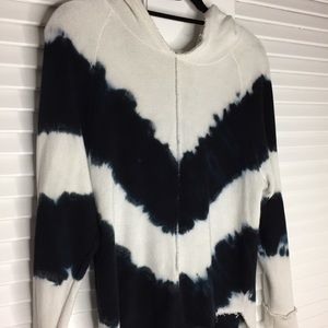 Mono B Tops - Mono B Tie Dye Hoodie in Cream/ Navy