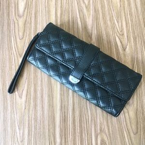 Handbags - Quilted black clutch purse with strap