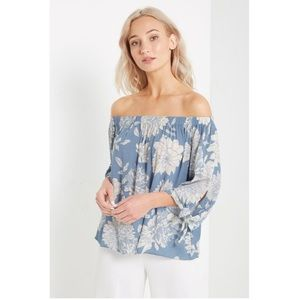 Tops - Off the shoulder Blue Floral  Top