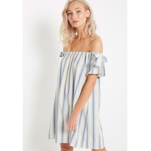 Dresses & Skirts - Blue Stripe Off the Shoulder Dre