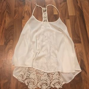 Tops - White Halter-Top Laced Tank