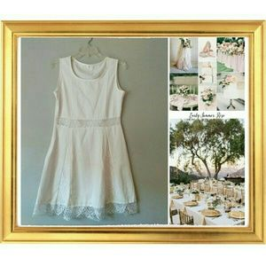 Dresses & Skirts - White/Blush Dress W/Lace Detail