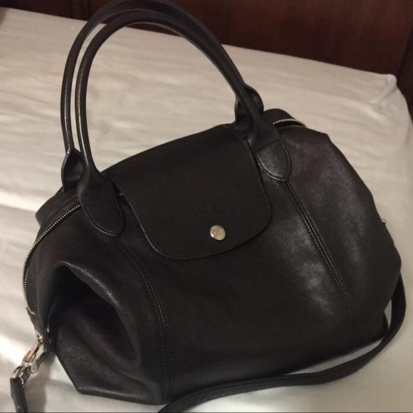 4df84d9de47 Longchamp Bags | Preloved Black Leather Shoulder Bag | Poshmark