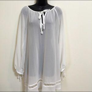 Lily White Dresses & Skirts - NWOT white sheer blouse tunic dress