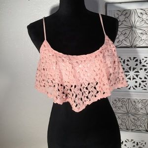 Cecico Tops - CECICO Blush Pink Lined Crochet Bandeau w/Straps