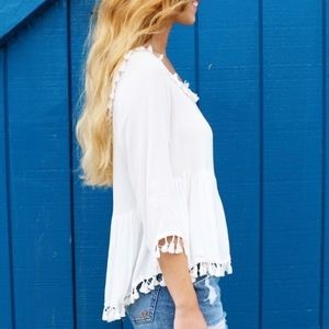 Tops - white tassel trim top