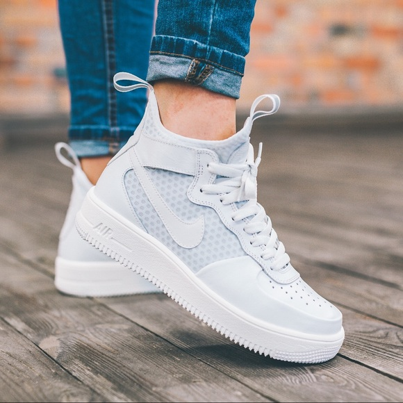 nike nike ultraforce white leather mesh sneakers from. Black Bedroom Furniture Sets. Home Design Ideas
