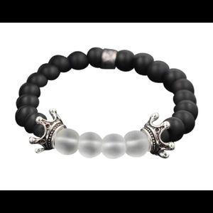 8MM Black & White Bead Bracelet For Men