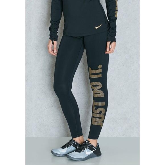 072b6b8e6a321 Nike Pants | Pro Warm Gold Just Do It Leggings | Poshmark