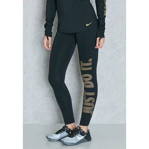 Nike Pants - Nike Pro Warm Gold Just Do It Leggings