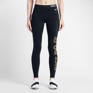 8f0d1773b2033 Nike Pants | Pro Warm Gold Just Do It Leggings | Poshmark