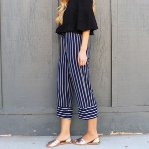 RESTOCKED navy striped pants
