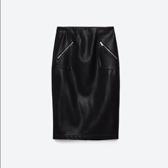 zara zara leather midi pencil skirt black from a