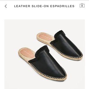 NWOT Leather Espadrilles