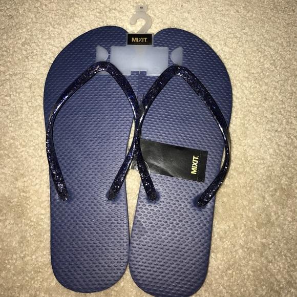 f0c28573e Brand new navy blue sparkly flip flops