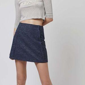 Topshop || Textured Scalloped Blue Skirt