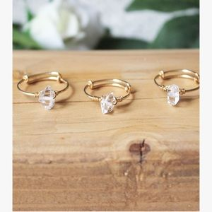 Herkimer Crystal Diamond Ring - Gold Filled Band