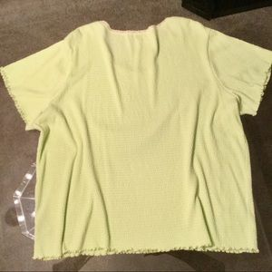 Tops - Stretchy Chartreuse Tee w/Lacy Trim