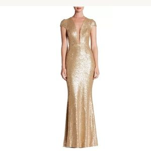 Dress the Population Dresses & Skirts - Dress The Population Michelle Gold Sequin Gown M