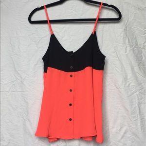 Aqua Tops - Pink and Black Button Up Tank