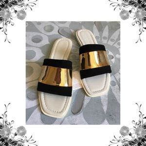 Zara White, Black Suede, & Gold Slide Sandals