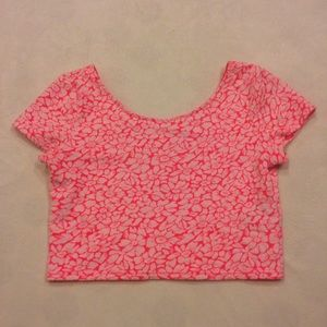 H&M Tops - H&M neon pink & white floral crop top