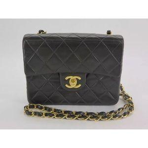 CHANEL Handbags - Auth CHANEL Black Lambskin Mini Flap Crossbody
