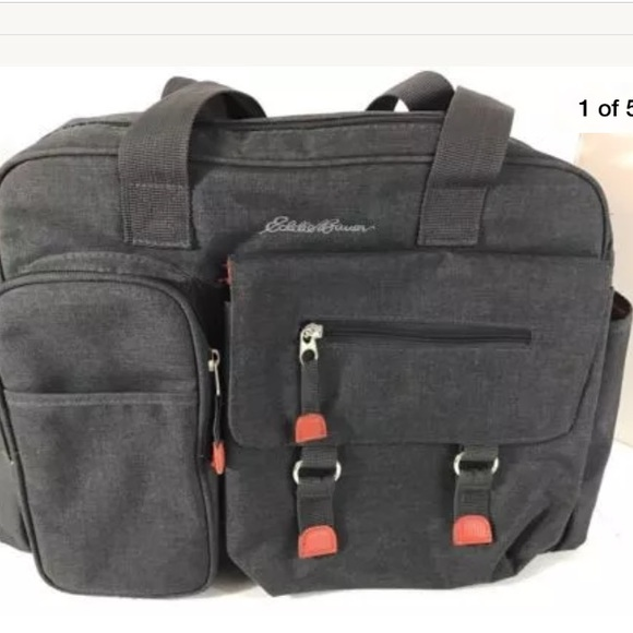61 off eddie bauer handbags eddie bauer flannel diaper bag gray orange baby from carine 39 s. Black Bedroom Furniture Sets. Home Design Ideas